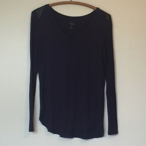 NYDJ Purple Long Sleeve Top with Leather Trim M